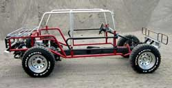 Image of Wombat steel subframe and top frame mounted on chassis.
